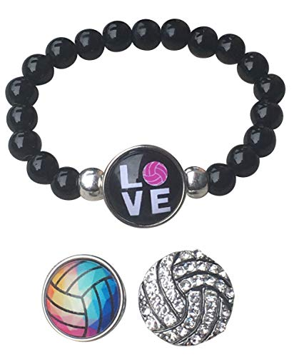 Sportybella Volleyball Interchangeable Snap Charm Bracelet- Beaded Volleyball Jewelry for Volleyball Players and Teams]()