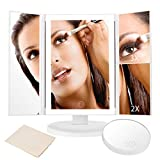 10x3x2x LED Lighted Makeup Mirror, Trifold Vanity Mirror with Full-rim Light Band 10X 3X 2X 1X Magnification and Light Control Touch Screen, 180 Degree Free Rotation Countertop Cosmetic Makeup Mirror