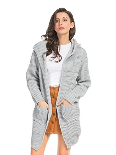 - CHOiES record your inspired fashion Choies Women's Gray Pocket Lace up Back Long Sleeve Chunky Hooded Knit Pullover Cardigan
