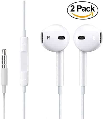 Premium Earphones/Earbuds/Headphones with Stereo Mic&Remote Control for iPhone iPad iPod Samsung Galaxy and More Android Smartphones[White][2-PACK]