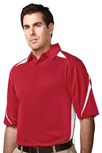 (Tri-Mountain men's Performance Polyester Birdseye Mesh Polo Shirt Red/White X-Large )
