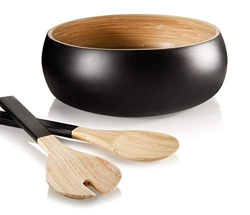Francois et Mimi 3 Piece Bamboo Salad Bowl Set with Utensils, 11