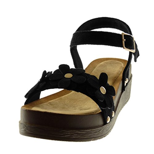 Mujer Tachonado Mules De Cm Correa Zapatillas Flores 4 Negro Plataforma Moda 5 Tobillo Madera Sandalias Angkorly TCwx8tvaqx
