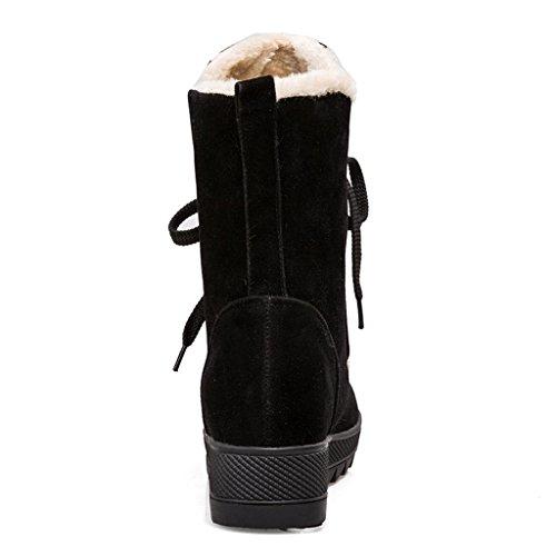 Neige Chaud l'augmentation amp;L pour Bottes d'hiver Bottes 36 Cachemire dans Bottes Filles Black Hiver et Automne Bottes L en Plus de Cadre Femme de de Coton Garder Neige au Le ptBdw
