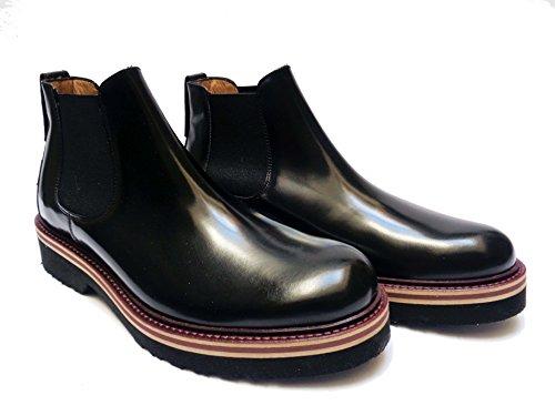 Antica Cuoieria scarpe da uomo mod. beatles in pelle abrasivata Nero, num. 40