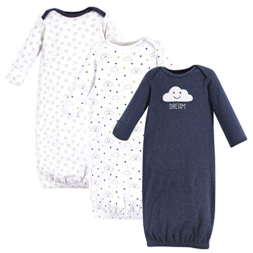 Hudson Baby Baby Cotton Gowns, Navy Clouds 3-Pack, 0-6 Months (Bottom Gown)