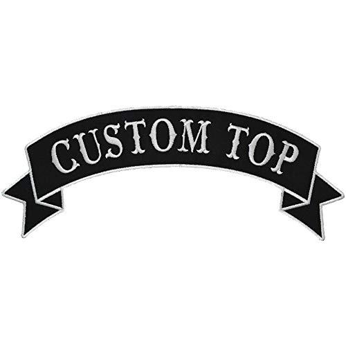Custom Biker Vest Patch - Top Banner Style Tab - Sew On