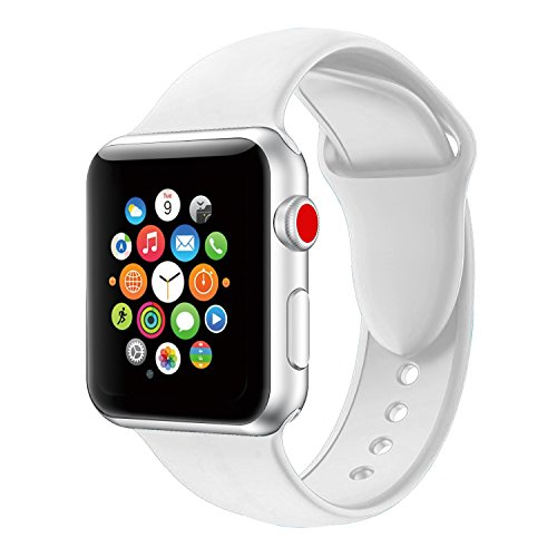 Youther For Apple Watch Bands, Soft Silicone Strap Replacement Wristbands for Apple Watch Sport Series 3 Series 2 Series 1 White 42mm M/L
