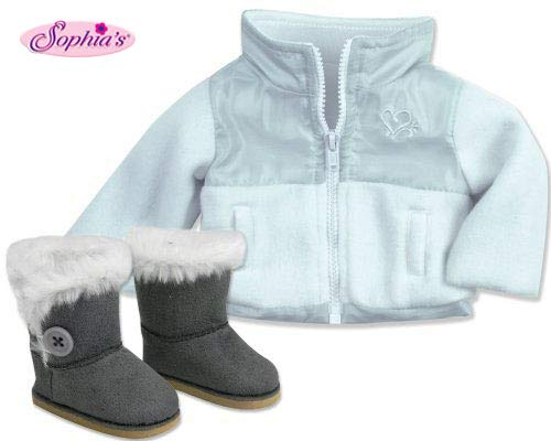 American Doll Jacket & Button Doll Boots in Suede Style & Fur Trim, 2 Pc. Set Fits 18 Inch Dolls. Stylish White/Gray Nylon/Fleece 18 Inch Doll Jacket & Gray Ewe Boots Doll Accessories