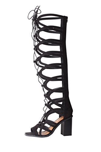Tilly London Ladies Sexy Zip up Wide Gladiator Black Knee Calf High Heeled Sandals Shoes Boots 3 4 5 6 7 8 Sizes Black Faux Suede mEgNwsiym