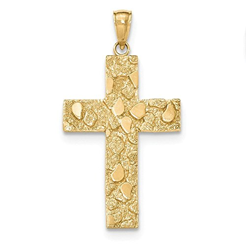(Solid 14k Yellow Gold Polished and Textured Nugget Block Style Cross Pendant)