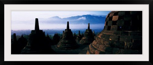 GreatBIGCanvas ''Borobudur Buddhist Temple Java Indonesia'' Entitled Photographic Print with Black Frame, 48'' X 16'' by greatBIGcanvas