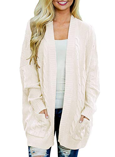 Doballa Women's Boyfriend Open Front Long Sleeve Cable Knit Aran Twisted Cardigan Sweaters Coat With Pockets (XL, Cream White) Cable Knit Cardigan Sweater