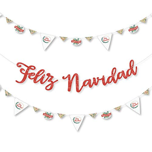 Big Dot of Happiness Feliz Navidad - Holiday and Spanish Christmas Party Letter Banner Decoration - 36 Banner Cutouts and Feliz Navidad Banner - Feliz Decorations Navidad