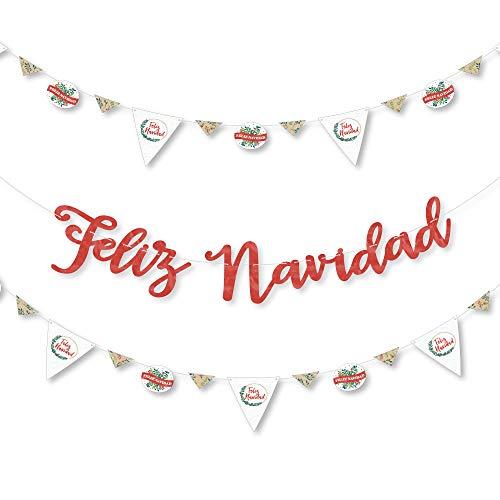Big Dot of Happiness Feliz Navidad - Holiday and Spanish Christmas Party Letter Banner Decoration - 36 Banner Cutouts and Feliz Navidad Banner Letters -