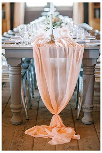 QueenDream 10-Pack Flowy Light Peach Chiffon Table Runner 27 x 120 inches For Wedding Reception Top Table Decoration Baby Girl Shower Birthday Party Decor