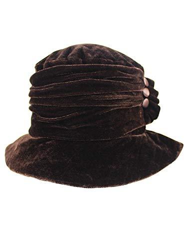 (Luxury Divas Brown Velvet Bucket Hat with Button Trim)