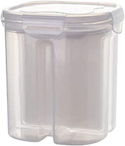 Food Storage Containers-2/4 Grids Plastic Kitchen Cereal Dispenser Sealed Flour Grain Rice Storage Box-MOMU