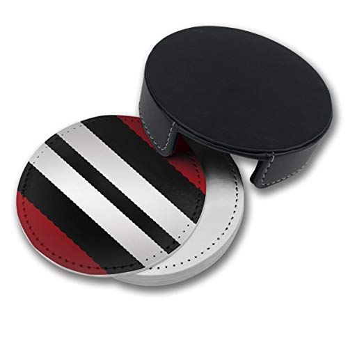 (NGFF Red Black Gray Diagonal Stripes Round Drinks Coasters with Holder Set of 6 PU Leather Cup Pads)