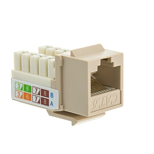 - ACL RJ45 Female to 110 Punch Down Cat6 Keystone Jack, Beige/Ivory, 2 Pack