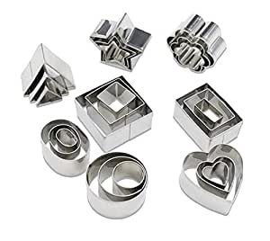 Mini Geometric Shaped Cookie Biscuit Cutter Set 24 Rectangle Square Heart Triangle Round Tiny Circle Baking Stainless Steel Metal Molds