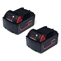 Masione 18-volt XC 4.0 Lithium Battery for Milwaukee Cordless Driver Drills 48-11-1811 48-11-1820 M18 4000mAh 4 AMP Red Lithium Replacement Batteries - 2 PACK