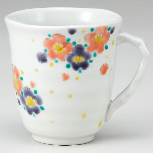 KUTANI YAKI(ware) Coffee Mug Plum pattern by Kutani
