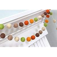 Felt Ball Garland- Brown, Green, Orange- Fall Autumn Halloween Thanksgiving