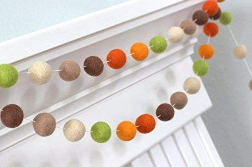 Felt Ball Garland- Brown, Green, Orange- Fall Autumn Halloween Thanksgiving