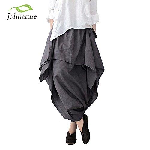 [Muktat_ Johnature 2016 New Women Wide Leg Loose Linen Cotton Asymmetric Pants Original Designer Plus Size Capris Elastc Waist Skirt ( One Size )] (1970s Tennis Costume)