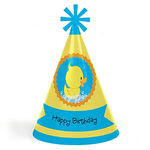 Ducky Duck - Cone Happy Birthday Party Hats for Kids and Adults - Set of 8 (Standard Size) -
