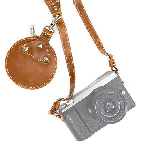 Megagear MG926 Leather Shoulder Neck Strap Belt + Storage Case Carrying Bag Comfort Padding, Security for All Cameras (SLR) One Size Fits All, Light Brown