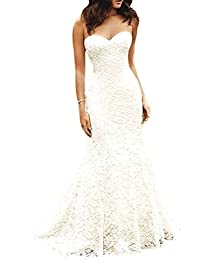 Women's Sweetheart Full Lace Beach Wedding Dress Mermaid Bridal Gown
