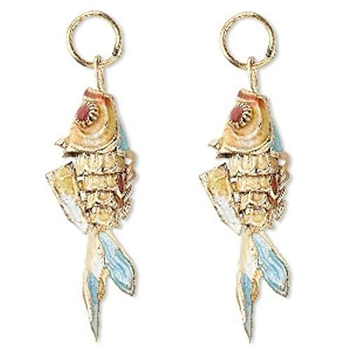 Cloisonne Fish - 2 Gold Plated Brown Moving Fish Cloisonne Charms ~ 35x13mm