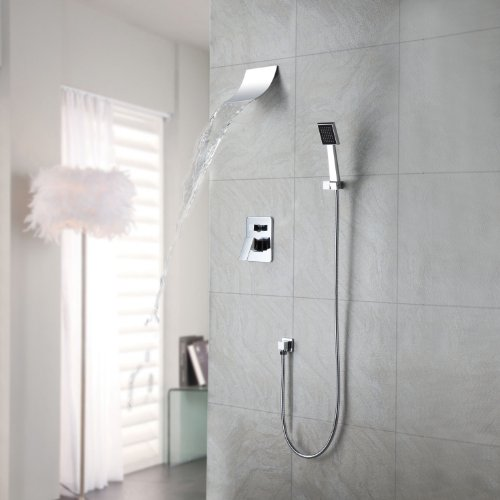 Hanle Contemporary Waterfall Shower Faucet with Shower head + Hand Shower Plumbing Fixtures Lavatory Roman Tub Faucets Lavatory Glacier Bay Faucets (Roman Tub Base Set)
