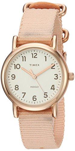 Timex Women's TW2R59900 Weekender 31 Pink/Rose Gold-Tone Nylon Slip-Thru Strap Watch (Womens Timex Pink)