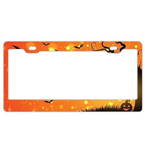 nuxteen License Plate Frames,Halloween Pumpkin Designs Aluminum Alloy Car Licence Plate -