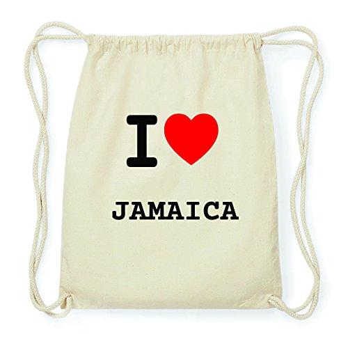JOllify JAMAICA Hipster Turnbeutel Tasche Rucksack aus Baumwolle - Farbe: natur Design: I love- Ich liebe Es4EZ3vU8