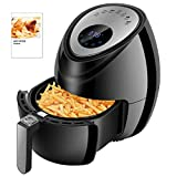 Digital Air Fryer 1500W 3.8QT, Low Fat Air Fryers with Cookbook and 5-Piece Accessories, Electric Air Cooker LED Touch Display Precise Timer and Temperature Control No Oil Fryer