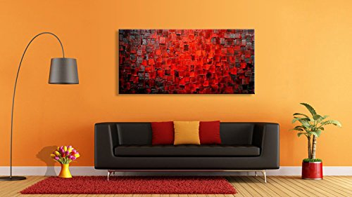Seekland Art Hand Painted Modern Oil Painting Texture Red Abstract Canvas Wall Art Decoration Picture Contemporary Artwork Framed Ready to Hang
