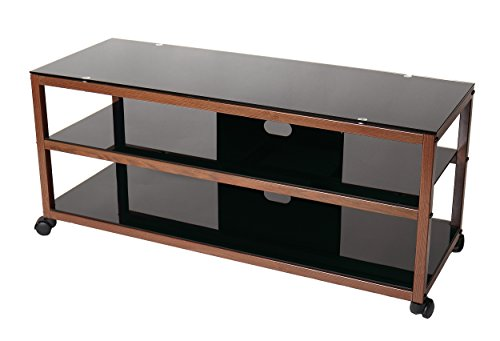 TransDeco TV Stand TD585DB with Casters & 2 AV Shelves for Flat Panel TVs, 50'' X 18'' X 21.9'', Dark Oak/Black by TransDeco (Image #2)