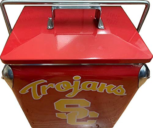 (USC Trojans Football Vintage Appearance Water Ice Chest Cooler All Metal Box Locking Handle (13 L))