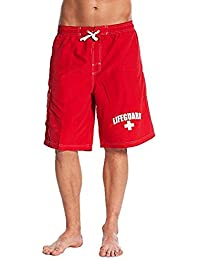 Officially Licensed Red Men's Board Shorts Swim Trunks with Side Pocket, Men and Boys, Great for Beach & Pool