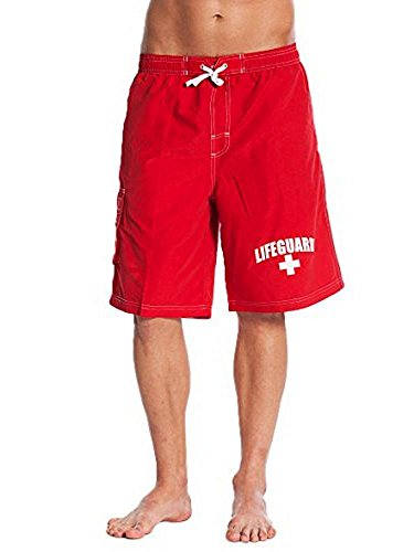 LIFEGUARD Officially Licensed Red Men's Board Shorts Swim Trunks (Lifeguard Tank)