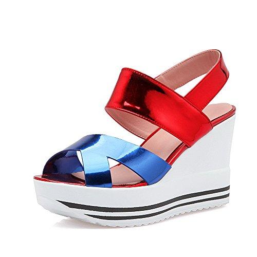 AgooLar Women's Assorted Color Blend Materials High Heels Open Toe Pull On Sandals Blue JMhdZV
