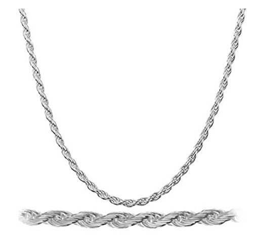 925 Rhodium Plated Sterling Silver 2mm Rope Chain Necklace - All Lengths Avai ()