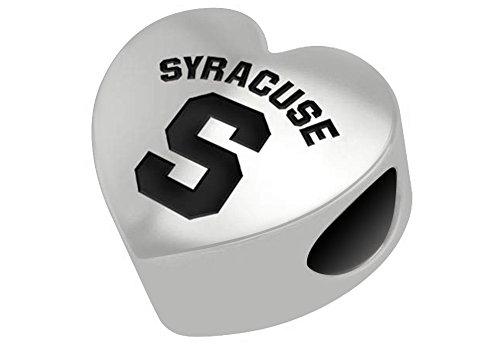 Syracuse University Orangemen Sterling Silver Heart Bead Fits Most European Style Charm (Syracuse Orangemen Bracelets)