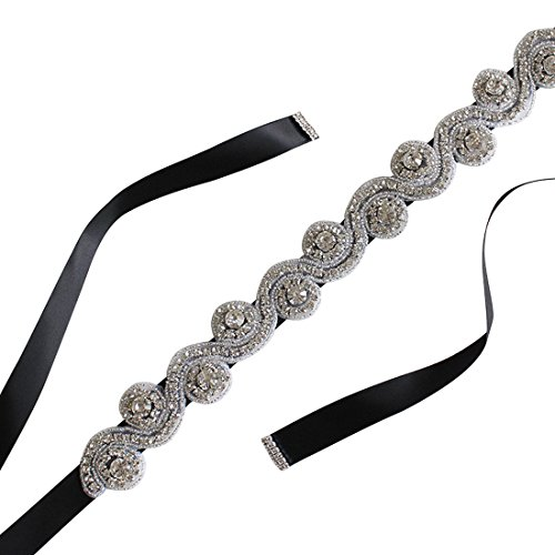 Women's Silk Ribbon Bridal Belt Party Prom Dress Sash for Wedding,Black (Silk Beaded Belt)