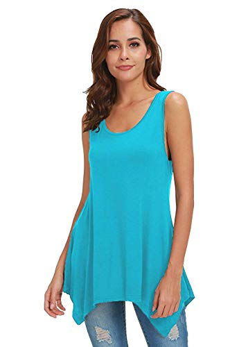 - Fengtre Tank Tops for Women Soft Casual Sleeveless Tunic Loose fit Flowy Lightblue S