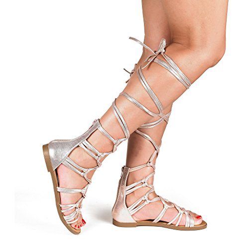 Knee High Open Toe Heels (DREAM PAIRS RAIL New Women Knee High Open Toe Lace Up Gladiator Summer Flat Sandals ROSE GOLD SIZE 8 )